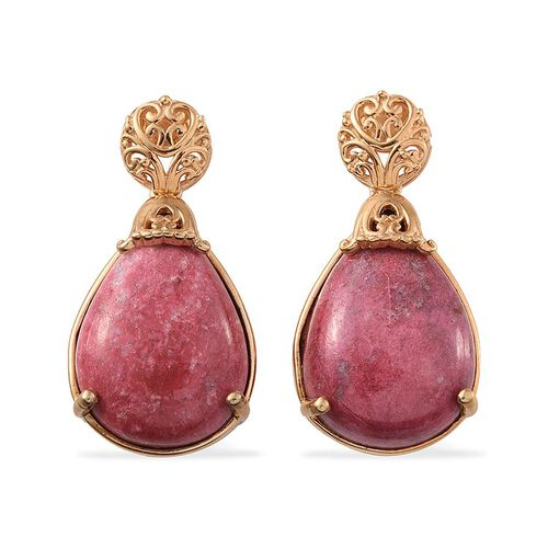 Norwegian Thulite (Pear) Earrings (with Push Back) in 14K Gold Overlay Sterling Silver 28.750 Ct.