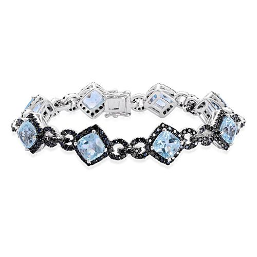 Sky Blue Topaz (Cush), Boi Ploi Black Spinel Bracelet (Size 7) in Black Rhodium Plated Silver 23.487 Ct. Silver wt 14.00 Gms. Number of Gemstone 272