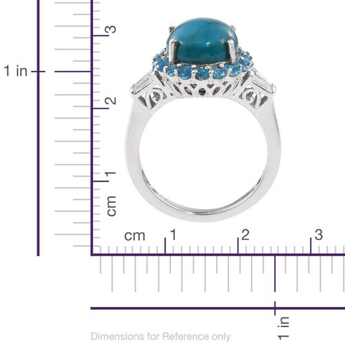 Natural Rare Opalina (Ovl 3.75 Ct), Malgache Neon Apatite and White Topaz Ring in Platinum Overlay Sterling Silver 5.000 Ct.