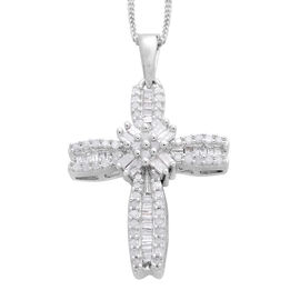 Limited Available-Diamond (Rnd) Cross Pendant With Chain in Platinum Overlay Sterling Silver 0.500 Ct.