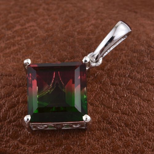 Tourmaline Colour Quartz (Sqr) Solitaire Pendant in Platinum Overlay Sterling Silver 5.000 Ct.