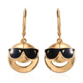 Smiling Face with Sunglasses Smiley Silver Lever Back Earrings in   Gold Overlay