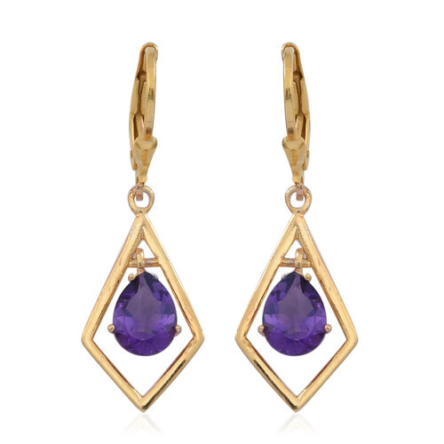 Natural Uruguay Amethyst (Pear) Lever Back Earrings in 14K Gold Overlay Sterling Silver 1.250 Ct.