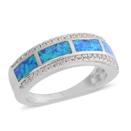 New Concept - AAA Simulated Ocean Blue Opal, Simulated Diamond Ring in Silver Plated