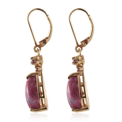 Norwegian Thulite (Pear), Rhodolite Garnet Lever Back Earrings in 14K Gold Overlay Sterling Silver 12.750 Ct.
