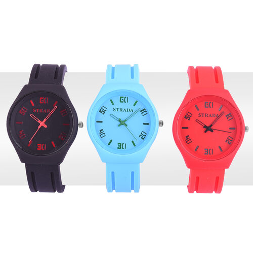 Set of 3 - STRADA Japanese Movement Red, Blue and Black Colour Watch in Silver Tone with Silicone Strap