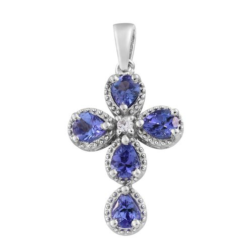 Tanzanite (Pear), Natural Cambodian Zircon Cross Pendant in Platinum Overlay Sterling Silver 1.750 Ct.