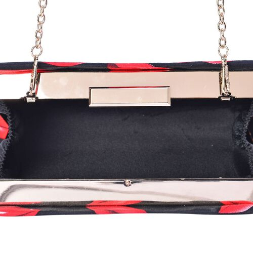 (Option 1) Red Colour Lips Pattern Black Colour Clutch Bag with Removable Chain Strap (Size 20x14x4 Cm)