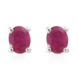 African Ruby (Ovl) Stud Earrings (with Push Back) in Platinum Overlay Sterling Silver