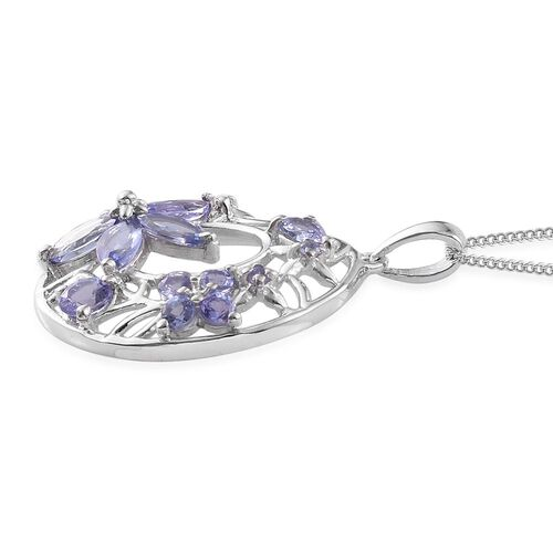 Tanzanite (Rnd) Floral Pendant With Chain in Platinum Overlay Sterling Silver 2.250 Ct.