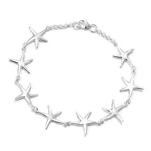 Vicenza Collection- Designer Inspired Sterling Silver Star Link Bracelet (Size 7.5), Silver wt 3.13 Gms.