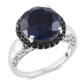 GP Ceylon Colour Quartz (Rnd 10.75 Ct), Boi Ploi Black Spinel and Kanchanaburi Blue Sapphire Ring in Platinum Overlay Sterling Silver 11.500 Ct.