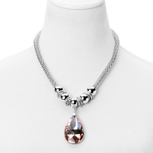 Simulated Peach Diamond Necklace (Size 20 with 2 inch Extender) and Hook Earrings in Silver Tone with Stainless Steel