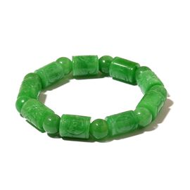 Very Rare First Time Ever Hand Carved Burmese Green Jade Barrel-Bead Bracelet (Size 6.5 to 9) 180.00 Ct.