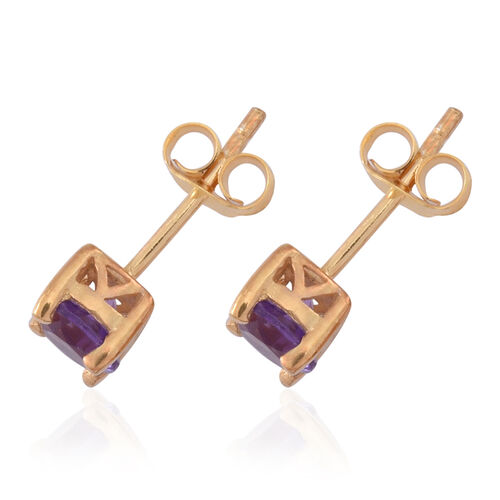 Set of 2 - Sky Blue Topaz (Rnd), Amethyst Stud Earrings (with Push Back) in 14K Gold Overlay and Rhodium Plated Sterling Silver 2.250 Ct.