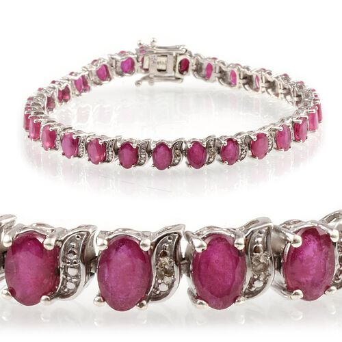 African Ruby (Ovl), Diamond Bracelet in Platinum Overlay Sterling Silver (Size 7.5) 17.510 Ct.