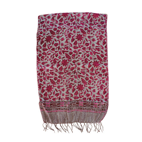 Floral Pattern Pink Colour 100% Silk Scarf (Size 150x45 Cm)