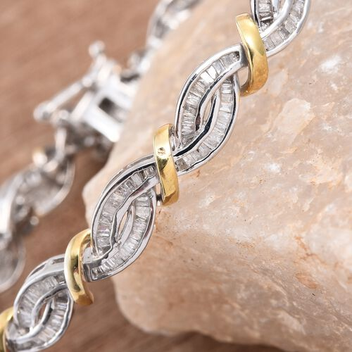 Diamond (Bgt) Bracelet (Size 7.5) in Platinum and Yellow Gold Overlay Sterling Silver 2.000 Ct.