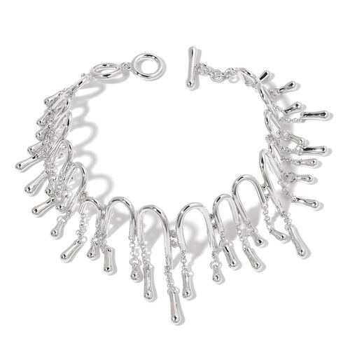 LucyQ Multi Drip Bracelet (Size 7.5) in Rhodium Plated Sterling Silver 26.51 Gms