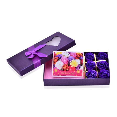 Mother s Day Special - 100% Silk Gradually Purple Colour Scarf (Size 180x70) with 6 Pcs Floral Shape Soap in a Purple Colour Box