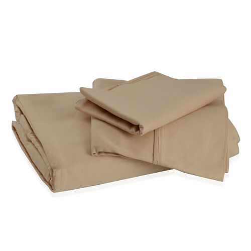 100% Cotton Tan Colour Single Fitted Sheet (Size 190x90 Cm) and One Pillow Case (Size 75x50 Cm)
