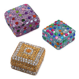 Set of 3 - Multi Colour Beads Embellished Blue, Purple and Golden Colour Square Shape Bling Box (Size 7X3 Cm)