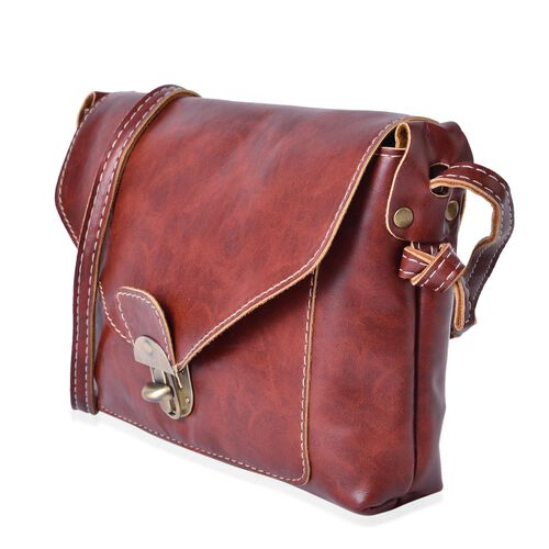 Italian Tan Colour Crossbody Bag with Shoulder Strap (Size 22x18.5x4 Cm)