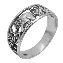 Royal Bali Collection Sterling Silver Elephant and Owl Band Ring, Silver wt 3.65 Gms.