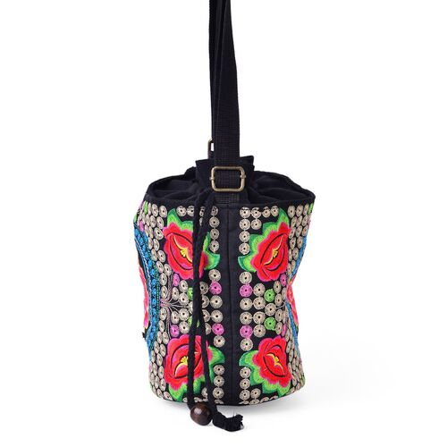 Shanghai Collection Pink, Blue, Green and Multi Colour Floral Pattern Black Colour Crossbody Bag with Adjustable Shoulder Strap (Size 19.5x16.5x13 Cm)