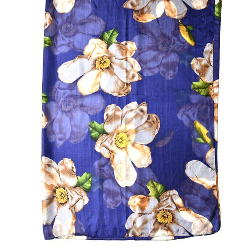 100% Mulberry Silk Navy, Green and Multi Colour Floral Pattern Scarf (Size 180X110 Cm)