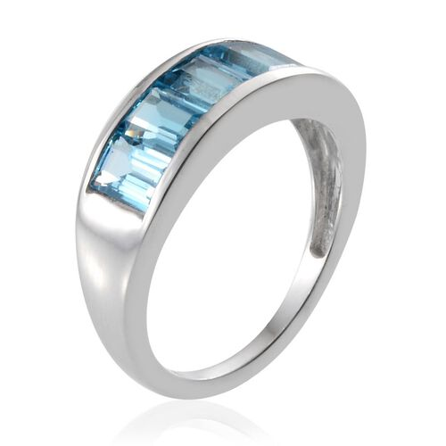 Electric Swiss Blue Topaz (Bgt) 5 Stone Ring in Platinum Overlay Sterling Silver 3.250 Ct.