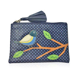100% Genuine Leather RFID Blocker Navy, Green and Multi Colour Polka Dots and Bird on Branch Pattern Coin Wallet (Size 13X9 Cm)