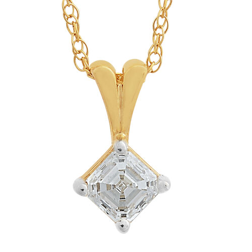 ILIANA 18K Yellow Gold IGI Certified Diamond (Asscher Cut) (VS/G-H) Pendant With Chain (Size 18) 0.500 Ct.