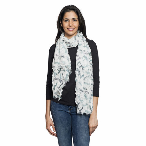 White, Grey and Multi Colour Dragonfly Printed Scarf (Size 180x70 Cm)