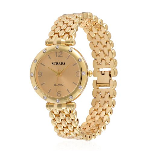 STRADA Japanese Movement Golden Dial White Austrian Crystal Water Resistant Watch in Silver Gold Tone with Stainless Steel Back and Chain Strap