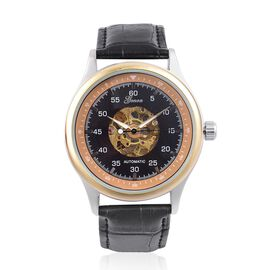 GENOA Automatic Skeleton Black and Orange Dial Water Resistant Watch in Silver and Gold Tone with Glass Back and Black Colour Leather Strap