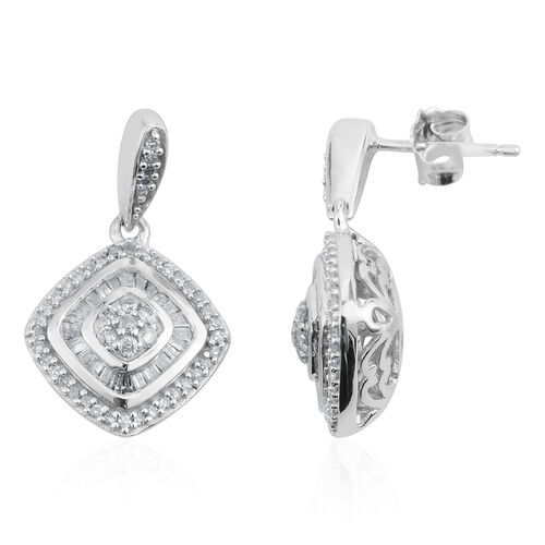 Limited Edition - New York Collection Close Out Deal - 9K W Gold Diamond (Rnd) ( I1/I2 G-H) Earrings (with Push Back) 0.500 Ct. Gold wt 3.7 Grams