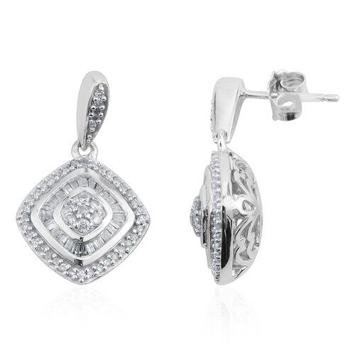 JCK Vegas Collection- 9K W Gold Diamond (Rnd) Earrings (with Push Back) 0.500 Ct.