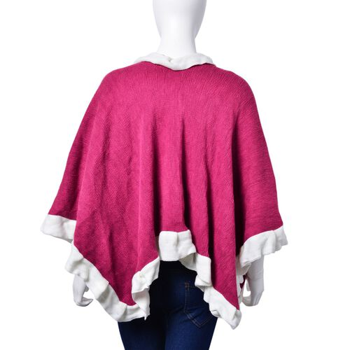Designer Inspired - Fuchsia and White Colour Poncho (Size 100x50 Cm)