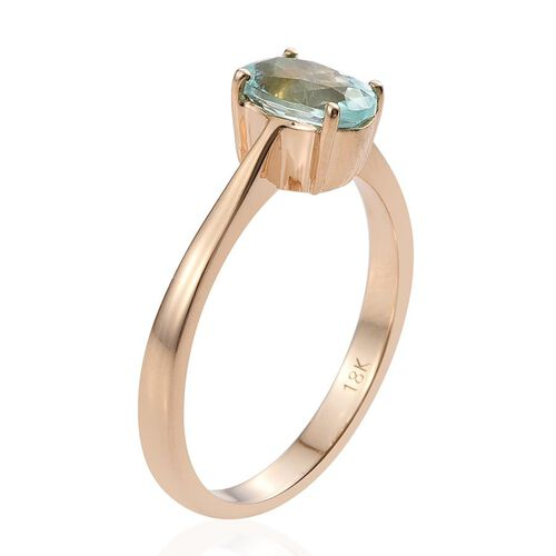 ILIANA 18K Y Gold Mozambique Paraiba Tourmaline (Ovl) Solitaire Ring 1.000 Ct.