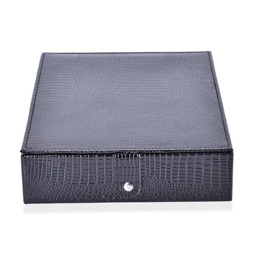 Black Colour Lizard Embossed Ring Box (Size 28X22X6 Cm)