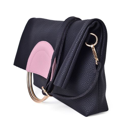 Set of 2 - Black and Pink Colour Handbag (Size 36X31X5 Cm) with Metallic Handles and Pouch (Size 19X18X4 Cm)