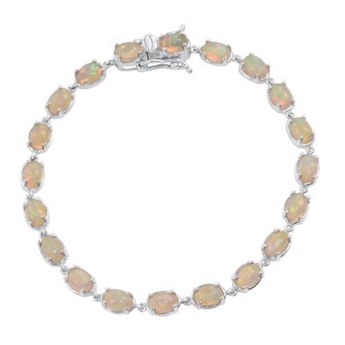 Ethiopian Welo Opal (Ovl) Bracelet (Size 7.25) in Platinum Overlay Sterling Silver 6.500 Ct.