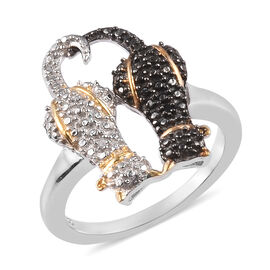 Black and White Diamond Twin Cat Ring in Black Rhodium, Platinum and Yellow Gold Overlay Sterling Silver