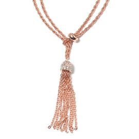AAA White Austrian Crystal Tassels Necklace (Size 23 to 48) in ION Plated Rose Gold Stainless Steel