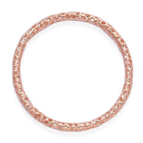 RACHEL GALLEY Rose Gold Overlay Sterling Silver Allegro Bangle (Size 8.25 / Large), Silver wt 20.41 Gms.