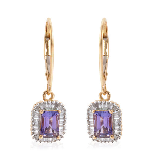 ILIANA 18K Y Gold AAA Tanzanite (Oct), Diamond (SI/G-H) Lever Back Earrings 1.500 Ct.