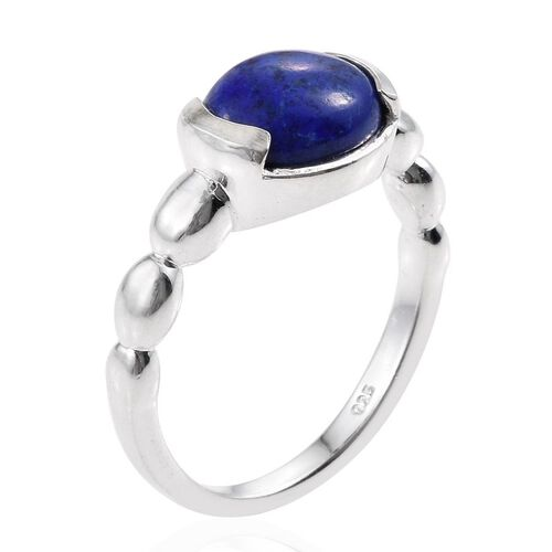 Lapis Lazuli (Ovl) Solitaire Ring in Sterling Silver 2.750 Ct.