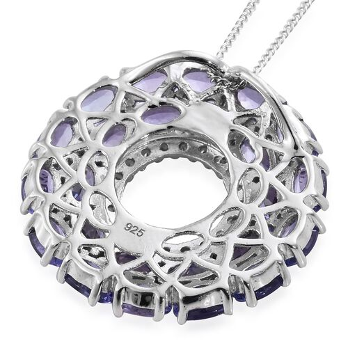 Tanzanite (Ovl), Natural Cambodian Zircon Circle of Life Pendant With Chain in Platinum Overlay Sterling Silver 7.250 Ct. Silver wt 5.01 Gms.