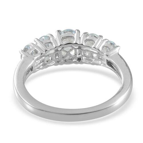 Espirito Santo Aquamarine (Ovl 0.50 Ct) 5 Stone Ring in Platinum Overlay Sterling Silver 1.900 Ct.